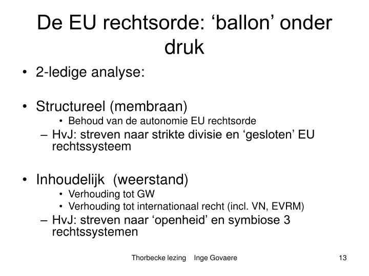 De EU rechtsorde: 'ballon' onder druk