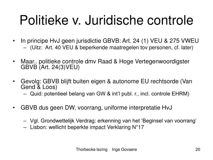 Politieke v. Juridische controle