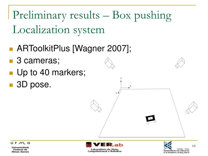Preliminary results – Box pushing Localization system