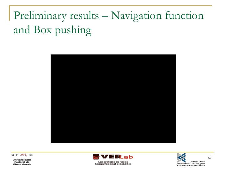 Preliminary results – Navigation function and Box pushing