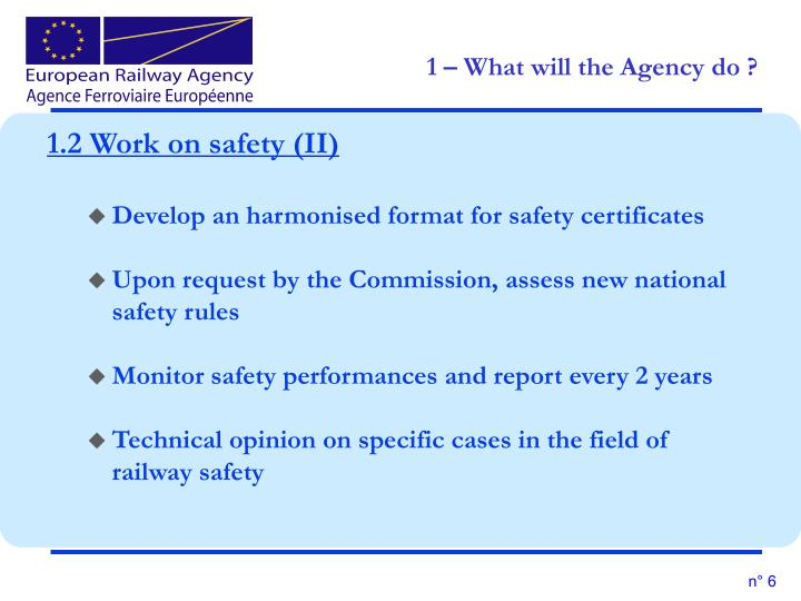 1.2 Work on safety (II)