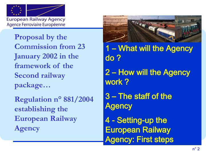 Proposal by the Commission from 23 January 2002 in the framework of the Second railway package…