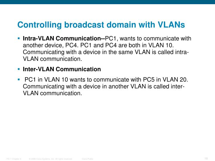 Controlling broadcast domain with VLANs