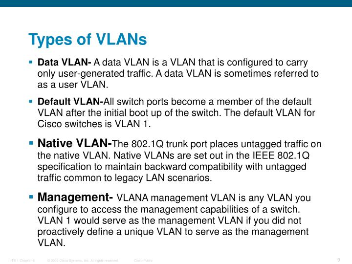 Types of VLANs