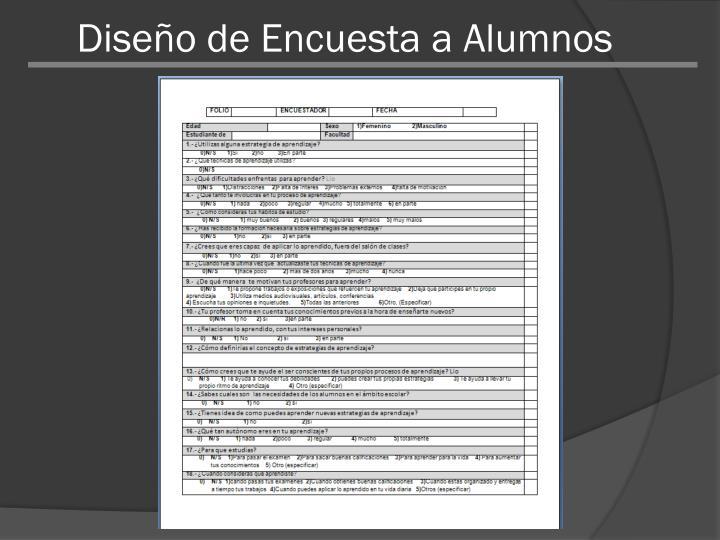 Diseño de Encuesta a Alumnos