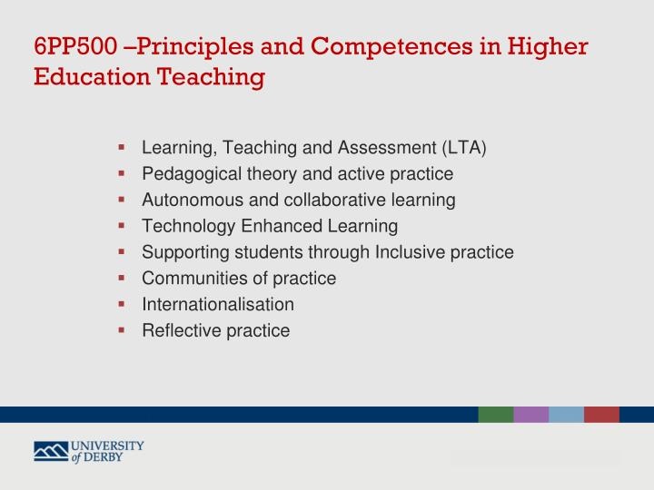 6PP500 –Principles and Competences in Higher Education Teaching