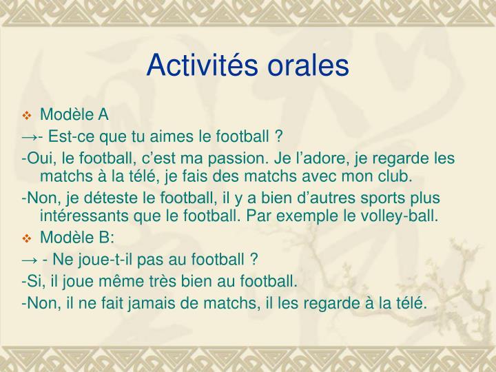 Activités orales