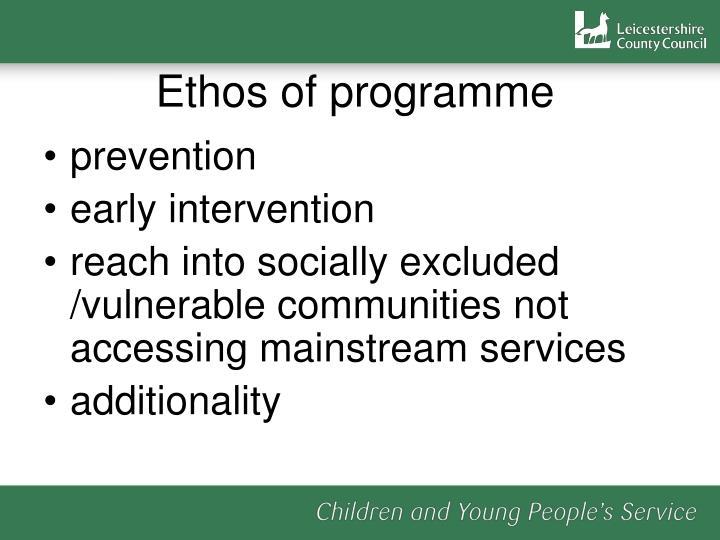Ethos of programme