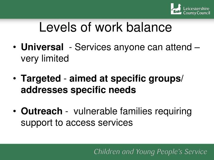 Levels of work balance