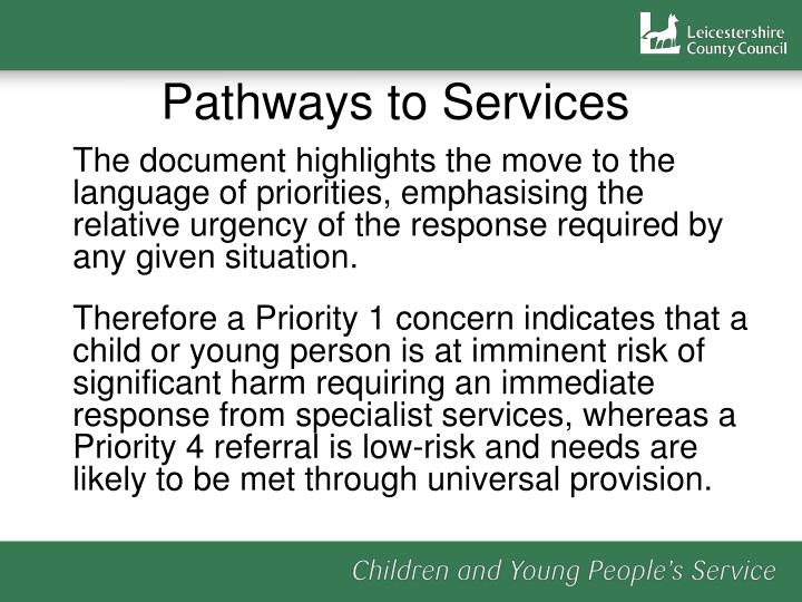 Pathways to Services