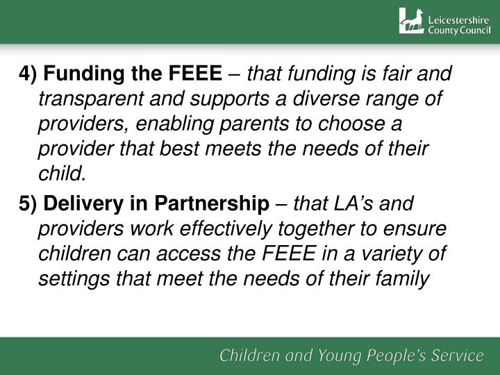 4) Funding the FEEE