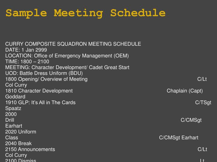 Sample Meeting Schedule