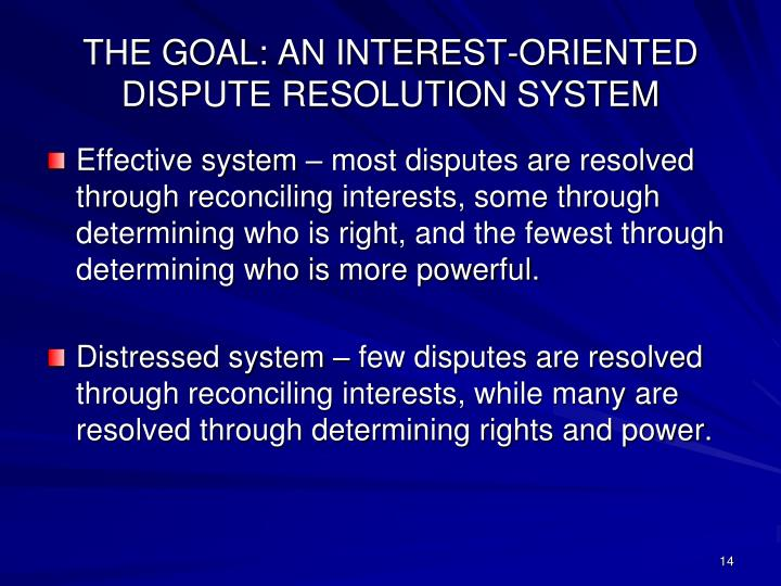 THE GOAL: AN INTEREST-ORIENTED DISPUTE RESOLUTION SYSTEM