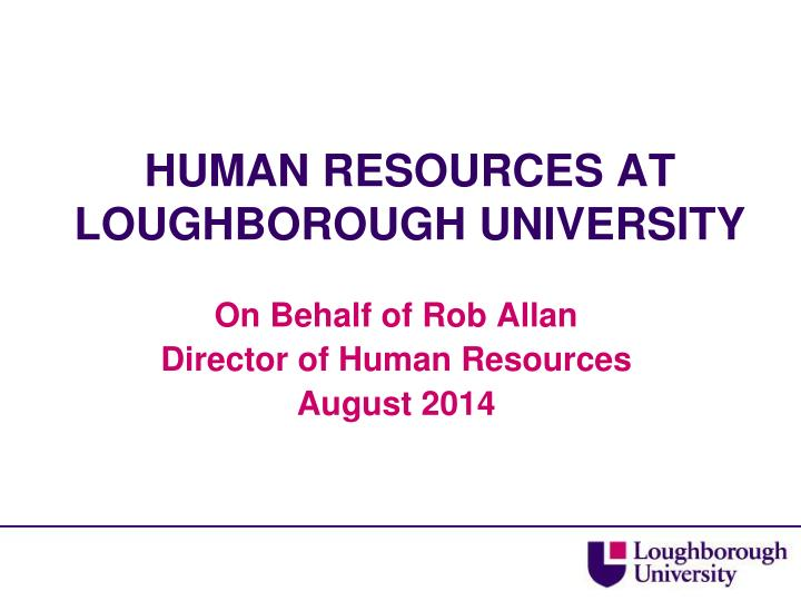 Human resources at loughborough university