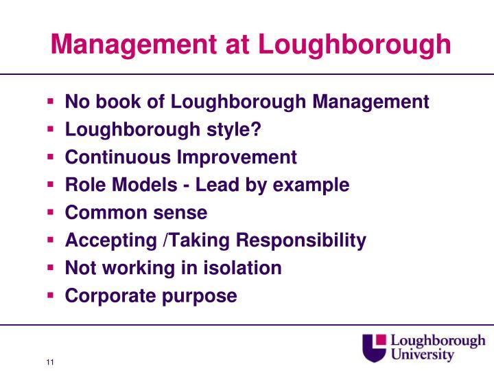 Management at Loughborough