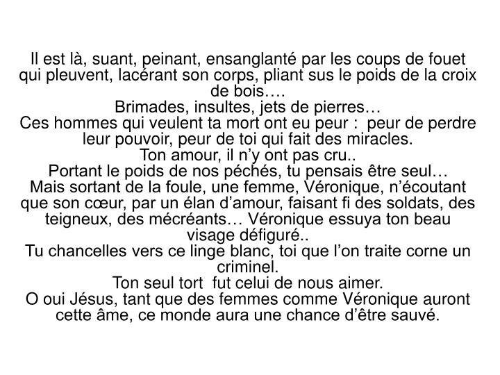 Il est là, suant, peinant, ensanglanté par les coups de fouet qui pleuvent, lacérant son corps, pliant sus le poids de la croix de bois….