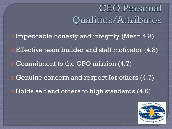 CEO Personal Qualities/Attributes