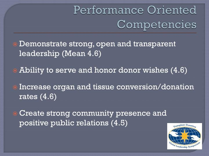 Performance Oriented Competencies