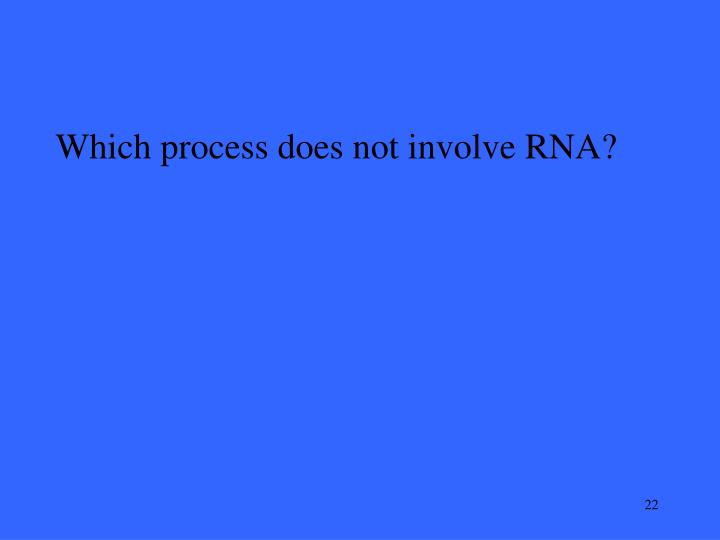 Which process does not involve RNA?