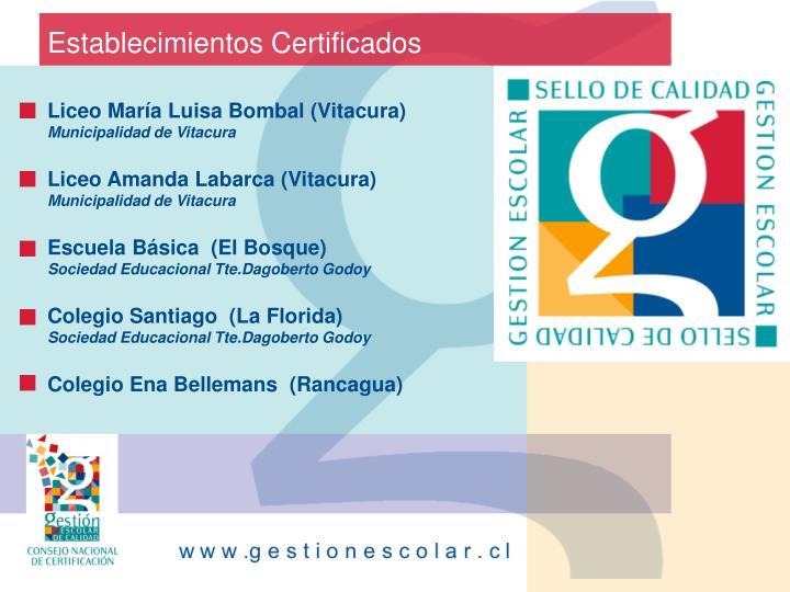 Establecimientos Certificados