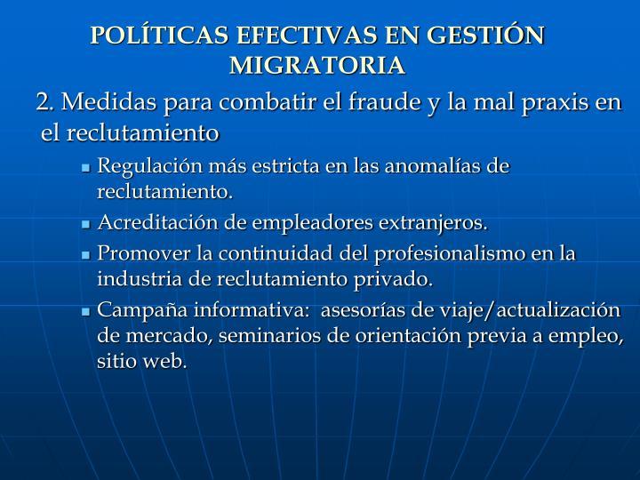 POLÍTICAS EFECTIVAS EN GESTIÓN MIGRATORIA