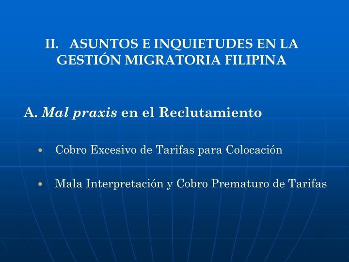II.   ASUNTOS E INQUIETUDES EN LA GESTIÓN MIGRATORIA FILIPINA