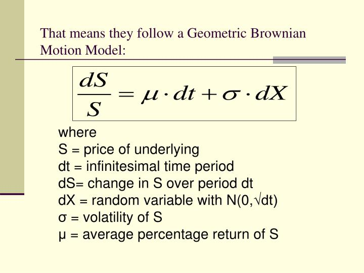 That means they follow a Geometric Brownian Motion Model: