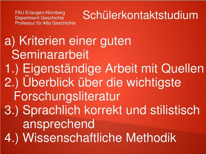 a) Kriterien einer guten Seminararbeit