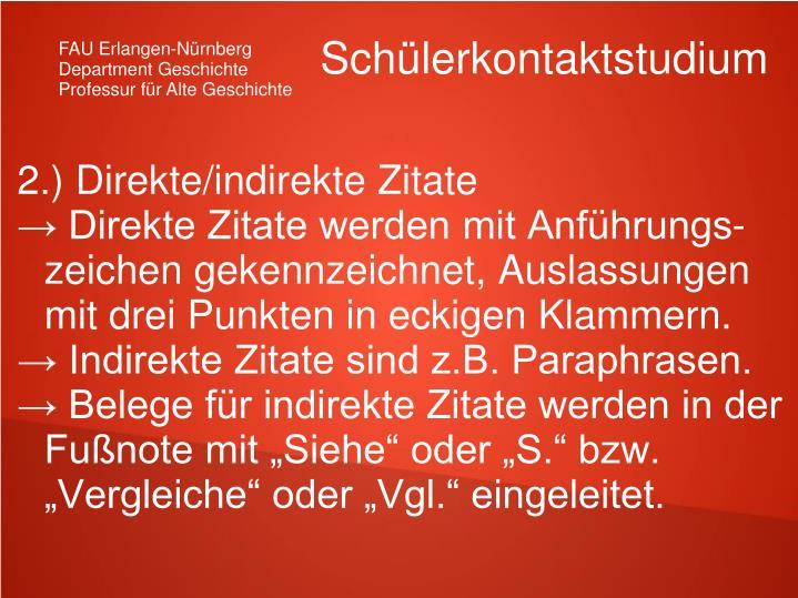 2.) Direkte/indirekte Zitate