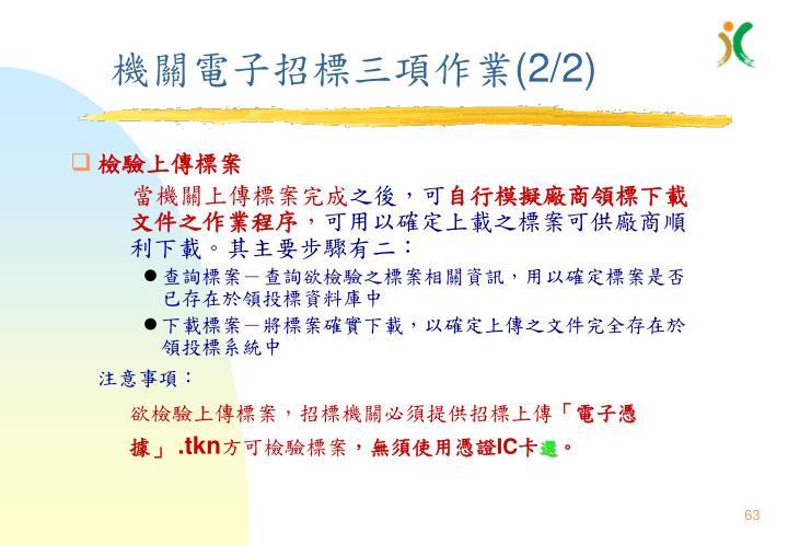 機關電子招標三項作業