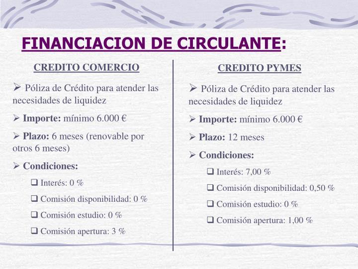 FINANCIACION DE CIRCULANTE