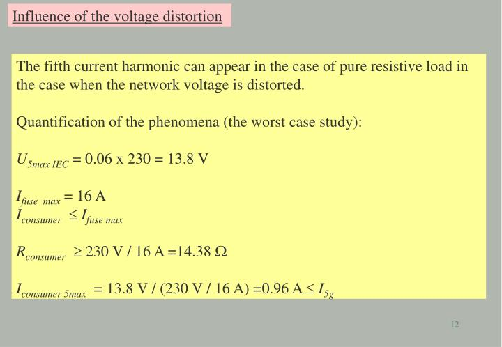 Influence of the voltage distortion