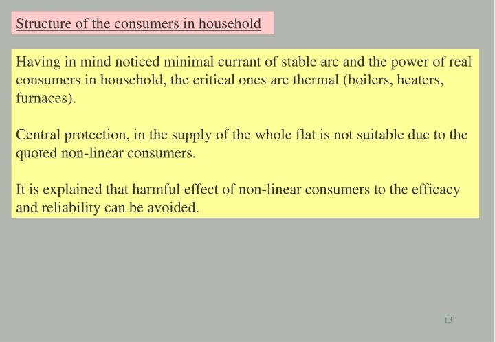 Structure of the consumers in household
