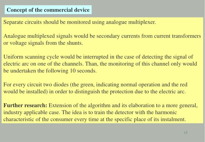 Concept of the commercial device