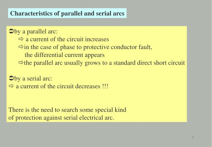 Characteristics of parallel and serial arcs