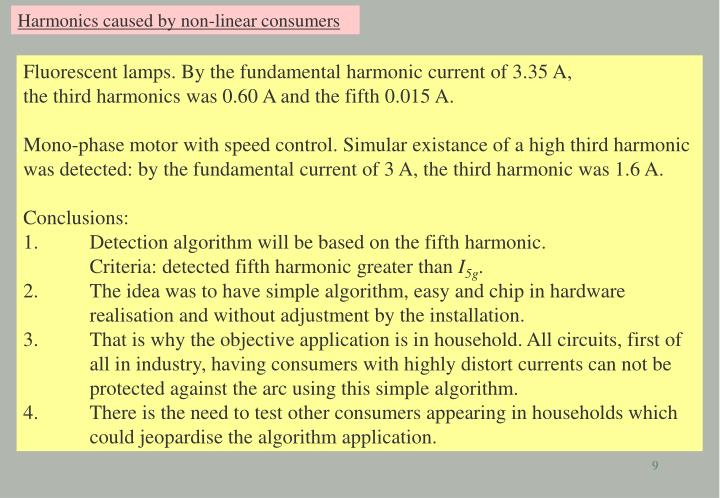 Harmonics caused by non-linear consumers