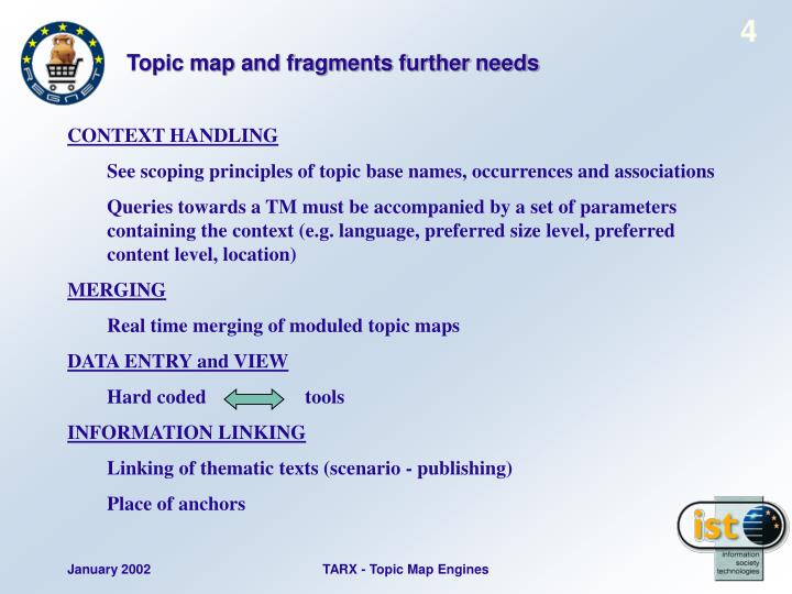 Topic map and fragments further needs