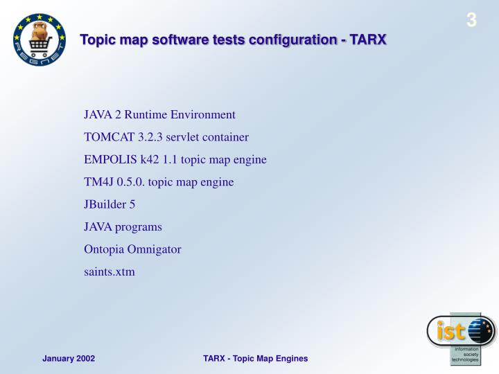 Topic map software tests configuration - TARX