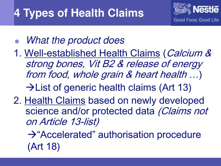 4 Types of Health Claims