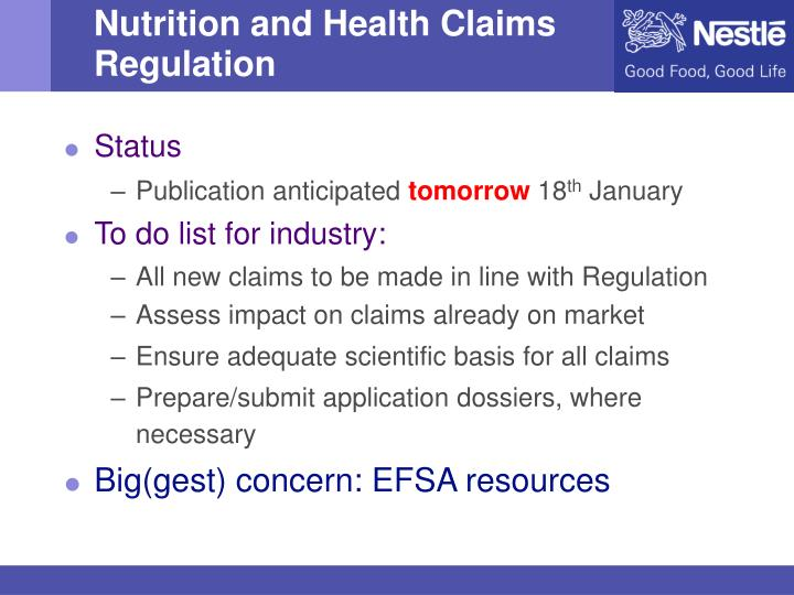 Nutrition and Health Claims Regulation