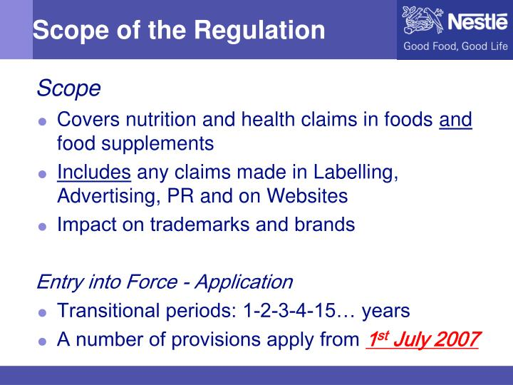 Scope of the regulation