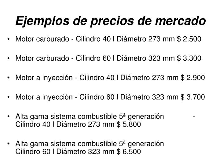Ejemplos de precios de mercado