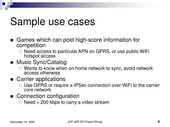 Sample use cases