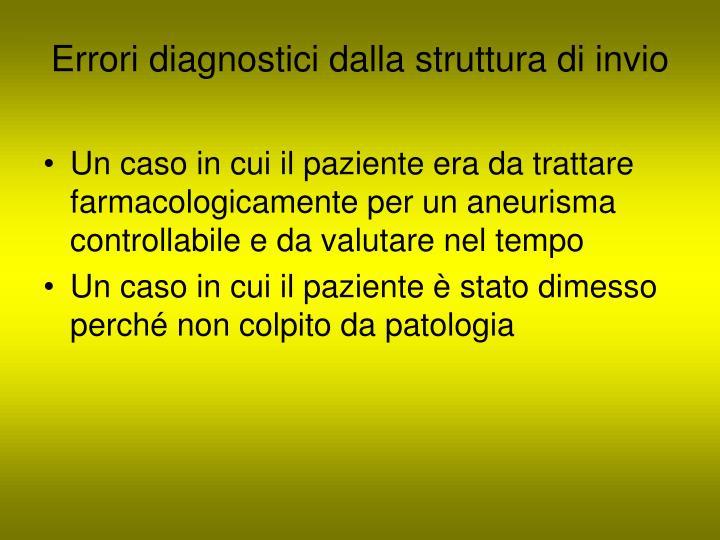 Errori diagnostici dalla struttura di invio