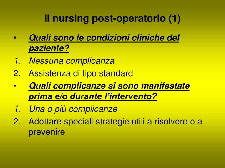 Il nursing post-operatorio (1)