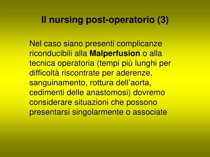 Il nursing post-operatorio (3)