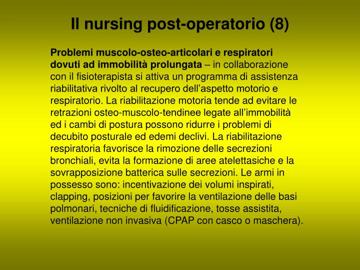 Il nursing post-operatorio (8)