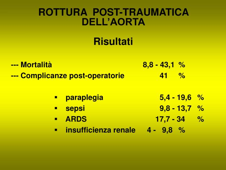 ROTTURA  POST-TRAUMATICA DELL'AORTA