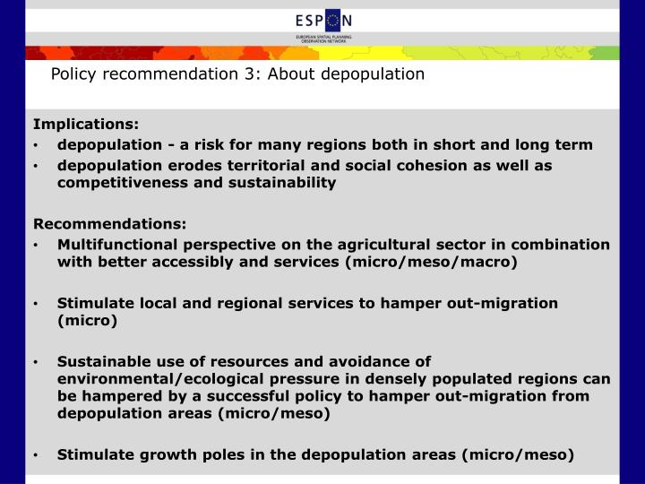 Policy recommendation 3: About depopulation