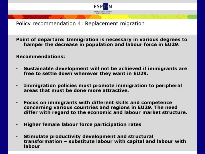 Policy recommendation 4: Replacement migration